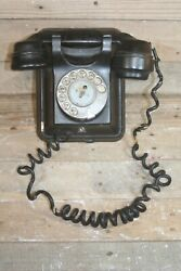 Antique Telephone Vintage Rotary Dial Ericsson Old Black Wall Mount Phone