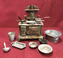 Antique Queen Nickel-plated Cast Iron Miniature Toy Stove W/ Pots And Pans
