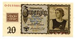 Post-wwii Germany Russian Occupation Zone Ddr 1948 20 Reichsmarks W/coupon Unc