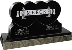 Cemetery Headstone Connected Hearts 42 X 6 X 26 Includes Engraving Ships Free