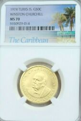 1974 Turks And Caicos Gold 50 Crowns Winston Churchill Ngc Ms 70 Rare Perfection