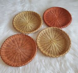 Vintage Mod 1970's Round Wall Baskets set of 4