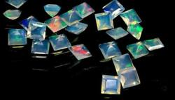 Natural Ethiopian Opal Square Faceted Cut Loose Gemstone Size 8mm Aaa Opal