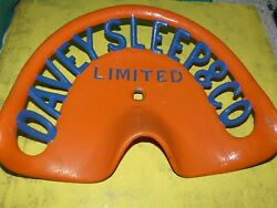 Vintage Davey Sleep And Co Tractor Implement Seat Farm Original Genuine Cast Iron
