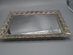 Vintage Ornate Silver Pewter Color Footed Vanity Mirror Tray LARGE 19quot; x 13quot;