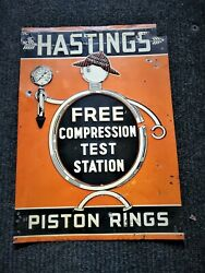 Old 1930's Hastings Piston Rings Sign ........see My Other Porcelain Neon Signs
