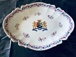 18th/19th Antique Chinese Export Famille Rose Plate With Family Crest