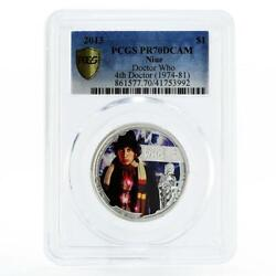 Niue 1 Dollar Tom Baker The 4th Doctor Who Pr70 Pcgs Silver Coin 2013