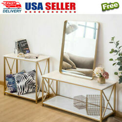 2-tier Sofa Console Table Marble Print Top Metal Frame Accent Foyer Hall Table