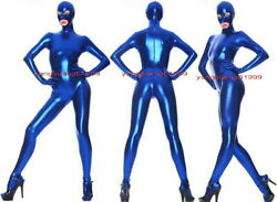 Blue Shiny Metallic Catsuit Costumes Unisex Full Outfit With Open Eye/mouth F318