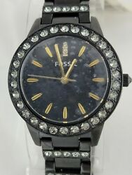 Fossil Women#x27;s ES3649 Jesse Crystal Accented Black Stainless Steel Watch $54.99