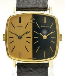 Baume And Mercier Geneve 32000 Twin Black Leather Analog Wrist Watch Japan Shipped