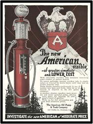1925 American Oil Pump And Tank Co. Metal Sign Visible Gas Pumps Large Size