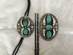 Native American Sterling Silver And Turquoise Belt Buckle And Bolo Signed