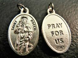 St. Rocco St. Rock 1 Oval Medal New Made In Italy Pray For Us On Reverse