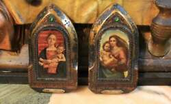 Antique Religious Icon Virgin Mary Wooden Lithograph Madonna 50and039s Wall Hanging
