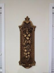Vintage 1974 Syroco Plastic Wall Plaque 41.5andrdquo Fruit 7304 Hollywood Regency Gold
