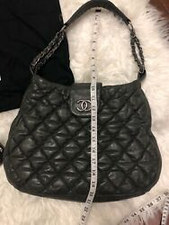 Authentic Quilted Lambskin Gray Shoulder Bag With Dbl Silver Chain Straps