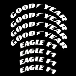 Permanent Tire Lettering Goodyear Eagle F1 Sticker 1.06 15-22 4 Tires Kit