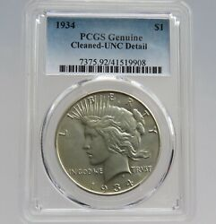 1934 P Peace Silver Dollar - Unc Details Cleaned - Pcgs - F9908
