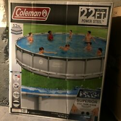 Coleman 22' X 52 Power Steel Frame Swimming Pool Set With Pump, Ladder And Cover