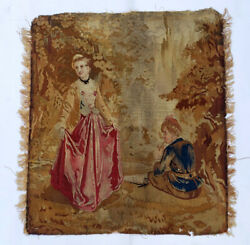 An Antique Tapestry with Lady and Gentleman