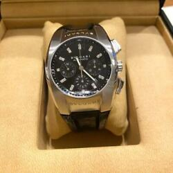 Bvlgari Eg 35 S Ch Automatic Silver Black Leather Analog Watch Japan Shipped