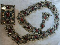 Judaica, Jewish Silver And Mixed Metal's With Agate Stones, Jewish Belt
