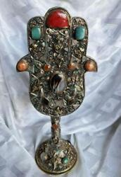 Judaica, Jewish Silver And Mixed Metal's With Agate Stones, Qajar Hamssa