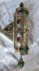 Judaica, Jewish Silver And Mixed Metal's With Agate Stones, Megillah Housing