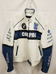 Vintage Menand039s Blue And White Compaq Bmw Leather Racing Jacket 3xl Nortel Castrol