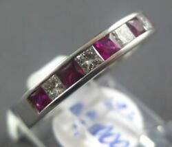 Estate 1.45ct Diamond And Aaa Ruby 18kt White Gold 3d Princess Anniversary Ring