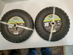 Two 2 Farm And Ranch 10 X 3.5 Hd Pneumatic Utility Flat-free Tires And Wheels