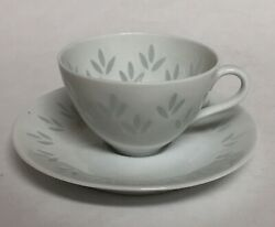 Friedl Holzer-kjellberg Arabia Rice Grain 3 Leaf Demitasse Cup And Saucer Set