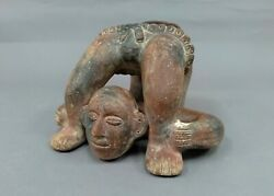 Mexican Mayan Aztec Red Clay Man Acrobat Pottery Vase Unmarked