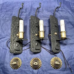 Set Of Three 3 Gothic Cast Iron Antique Sconces With Polished Brass Accents 112b