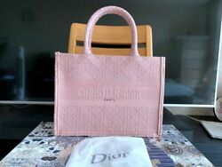 Authentic Dior Small Book Tote In Bois De Rose Cannage Embroidered