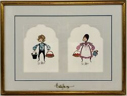 P. Buckley Moss Professionally Hand Signed Framed Prints Amish Boy And Girl Basket