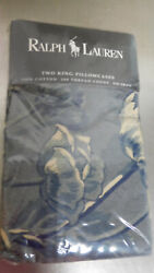 Pair Of Donovan King Pillowcases-cotton-vintage Blue And White New Old Stock
