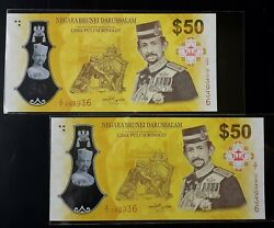 Brunei 50 F1 2017 ,f4 2020 2 Unc Notes With Last 4 Identical Numbers 3936