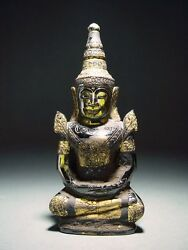 Antique Phra Hin And039kru Hodand039 Quartz Crystal Seated Crowned Buddha Relic 14/15th C.