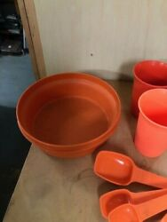 Vintage Tupperware Rust Colored Measuring Cups And Spoons And Dish Take A Look Now