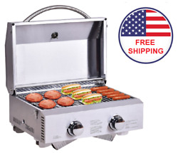 Portable Bbq Grill Gas Tabletop Picnic Outdoor Garden Stainless Steel Silver New