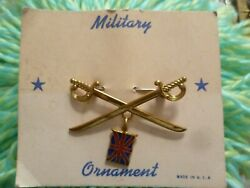 Military Ornaments Crossed Sword With Union Jack Flag Brooch Badge New - 1 Pcs