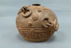 Mexican Mayan Aztec Red Clay Round Sphere Pottery Vase With Fish