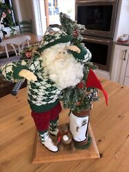 Vtg 1999 Signed Lynn Haney Santa Collection Where Did It Go Style 1909 Golfing