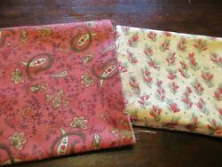 Cotton Fabrics Lot of 1 Fat Quarter and 1 3 Yard Red Green Tan Coordinated Color