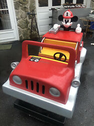 Mickey Mouse Coin Operated Fire Truck Amusement Ride Plays Mickeys March