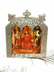 Antique Jesus Heart Icon Enthroned Wood Embossed Metal Wall Lithograph Religious