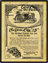 1916 Twin City 15 Tractor New Metal Sign Minneapolis, Mn - Large Size 12 X 16
